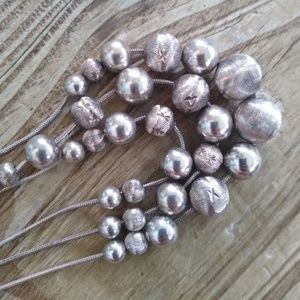 Heavy Sterling silver bead necklace 3 strand